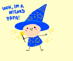 Small boy playing as a wizard