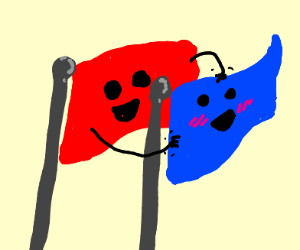 Flags tickling each other