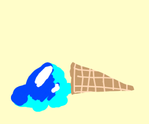 The sun melted a blue ice cream :(