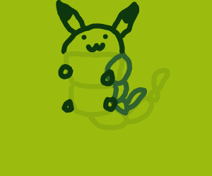 Pikachu in Caterpie suit