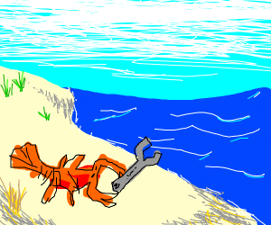 Lobster using wrench on the beach