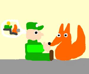 Luigi is telling fox that he's better