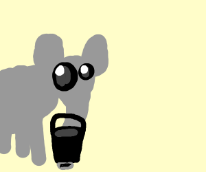 an elephant grabbing a bucket
