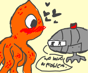 Giant Octopus Loves Submarine