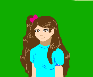 Girl with brown hair and blue shirt
