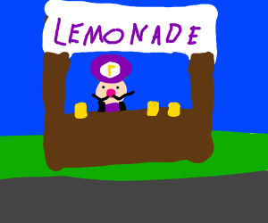 Waluigi running a lemonade stand