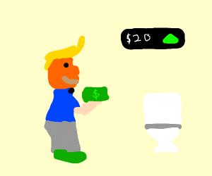 Trump investing money into toilet