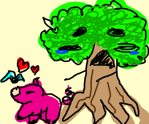 Tree is sad bc pig chooses birds love instead