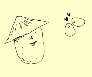 Chinese potato watches eggs in love