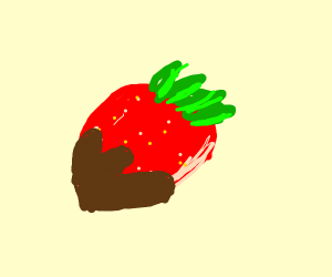 Fishing a strawberry