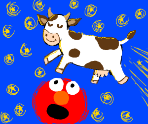 Cow jumps over elmo