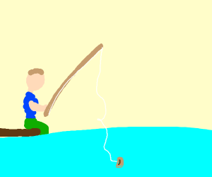 man fishes for beans