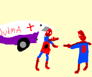 Spiderman & imposter in front of an ambulance