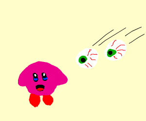 a pair of eyeballs shoots kirby