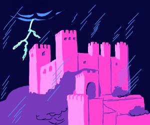 pink castle in rain
