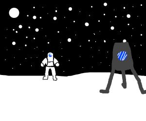 Astronaut on white planet