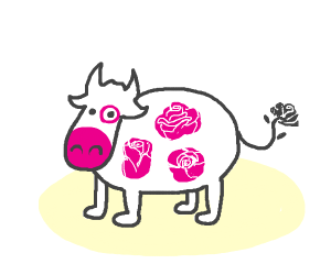 Rose cow in a tutu