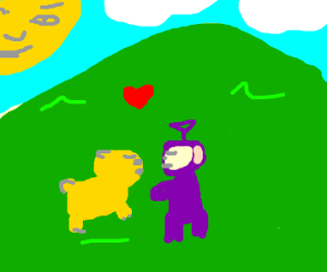 Weird yellow wombat and purp teletubby lovers