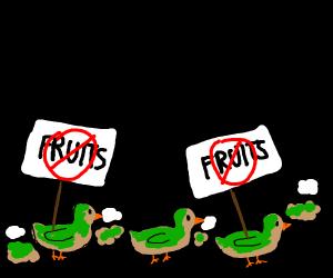 Fruit protesting ducks