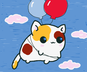 Kitty floating away
