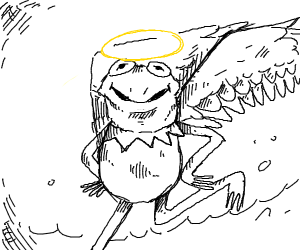 Kermit the frog walks on water with gold halo