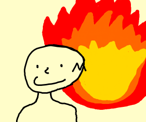 Man is unaware of the blazing fire behind him