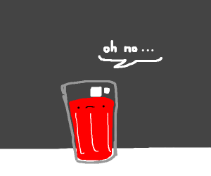 glass of blood says 'oh no'