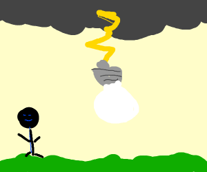 Light bulb hanging off lightning
