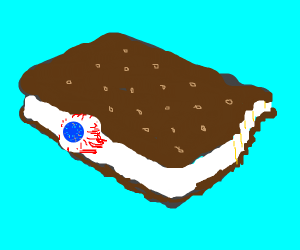 An eye pertruding out of an icecream sandwich