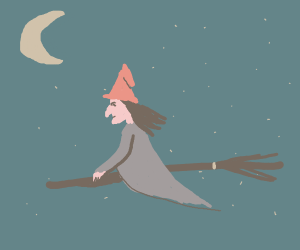 witch rides her broomstick at midnight