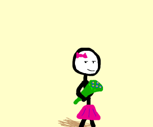 Little stick figure girl with flower