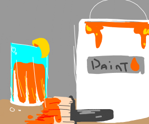 A refreshing cup of orange paint