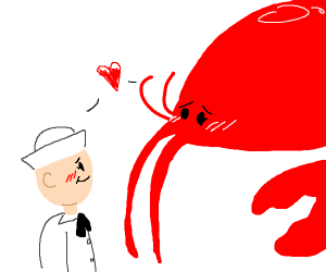 Love between a sailor and a giant lobster