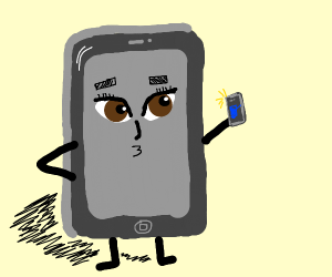 phone taking a selfie w/ a smaller phone