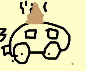 Car with feces on the top