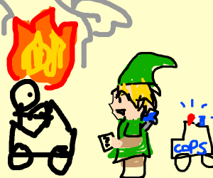 Link (angry) giving a ticket to a bad driver