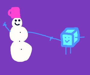 ice and snowman playing together
