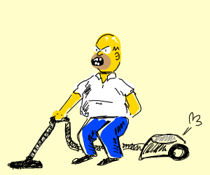 angry homer simpson vacuuming