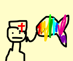 rainbow fish healing a nurse near clothes