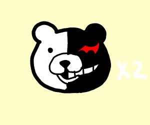 Two teddy bears who are half bad, half goof