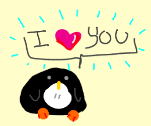 A baby penguin loves you