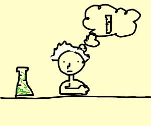 Scientist thinks of test tube.