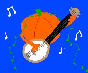 Pumpkin Playing a Banjo