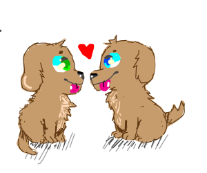 Cute puppy bonding