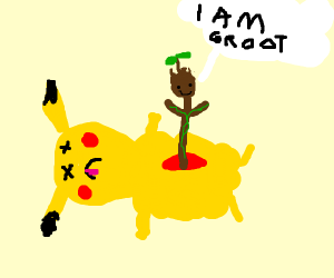 Baby groot grows out of pikachu carcas