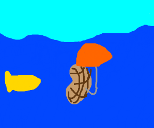 a peanut holding an umbrella in the ocean
