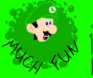 Luigi is having fun