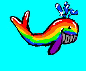 Rainbow whale in tropical island