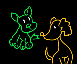 green puppy and yellow puppy ;0