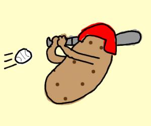 potato playing baseball
